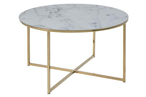 AC Design Furniture Couchtisch Antje, B: 80 x T:80 x H: 45 cm, Glas, Weiss Gestell Gold