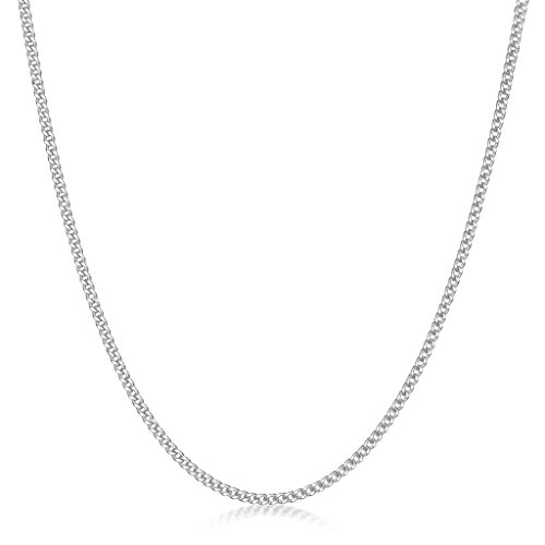 Amberta 925 Sterling Silver 1.5 mm Curb Chain Necklace Length 28″ inch / 70 cm (28)
