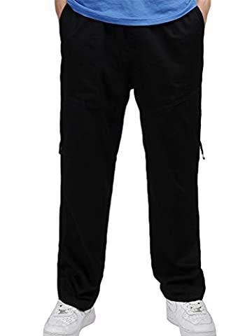 NiSeng Multi Pocket Loose Straight Cargo Trousers Classic Big & Tall Work Pants Black Asia 5XL/UK 3XL