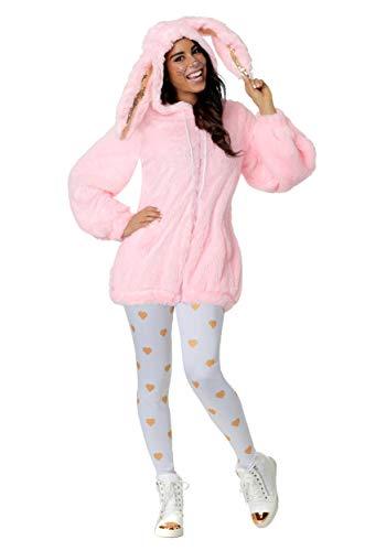 Frauen Plus Size Fuzzy Pink Bunny Kostüm - 1 X