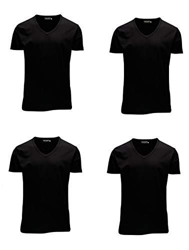 JACK & JONES Herren T-Shirt JJEBASAL Tee V-Neck GER KA - Slim Fit 4er Pack in vielen Farbvarianten, Größe:XL, Farbe:4X Black (12059219)