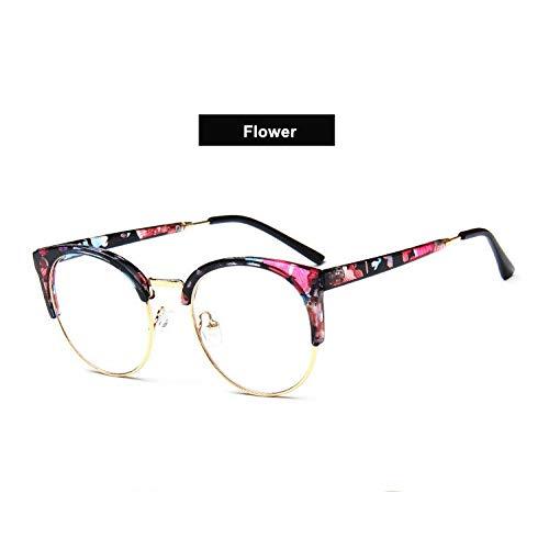 YMTP Katzenaugen-Brillen-Rahmen-Transparente Gläser-Halbe Rahmen-Übergroße Brillen-Optisches Schauspiel-Kurzsichtige Augen-Glas-Frauen, Blume