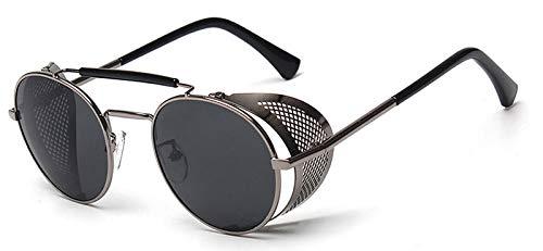 Macxy - Retro Steampunk Sonnenbrille Runde Designer-Dampf-Punkmetallabdeckungen Sonnenbrille Männer Frauen UV400 Gafas de Sol [Gun Rahmen schwarz]