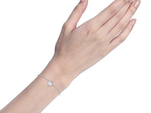 Or Blanc 9 ct Bracelet Diamant en forme de fraise, 0.02 Ct Diamant, GH-SI, 1.54 grammes.