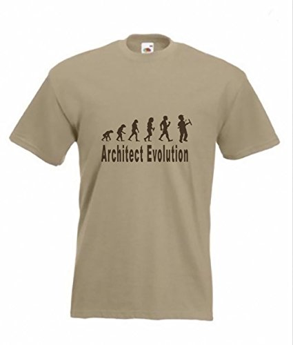 Evolution To Architect maglietta divertente t-shirt taglie dalla S alla 2 X XL Light Brown M/107 cm