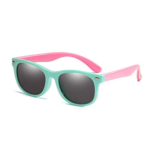 Sport-Sonnenbrillen, Vintage Sonnenbrillen, Children Polarized Sunglasses TR90 Baby Classic Fashion Eyewear Kids Sun Glasses Boys Girls Sunglasses UV400 Oculos Light Green-Pink