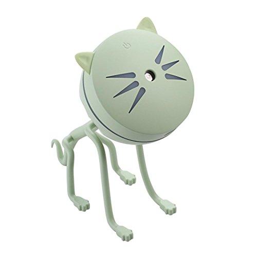 Humidificateur,OVERMAL Lampe Humidificateur Mignon Petit Chat Conduit Humidificateur Diffuseur Purificateur Atomiseur (Vert)