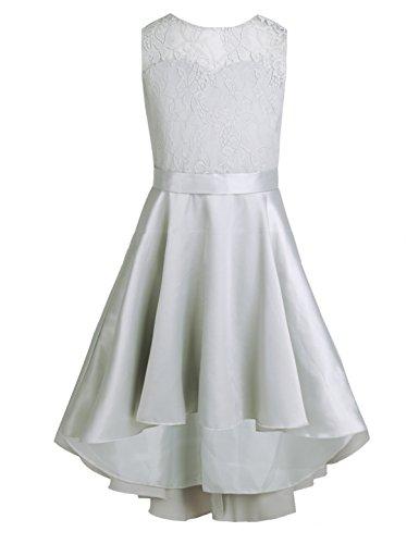 iEFiEL Kinder Kleider festlich Mädchen Taufkleid Blumensmädchenkleid Prinzessin Hochzeit Party Kleid 104 116 128 140 152 164 Grau 152 (Grau Party Mädchen Kleid)