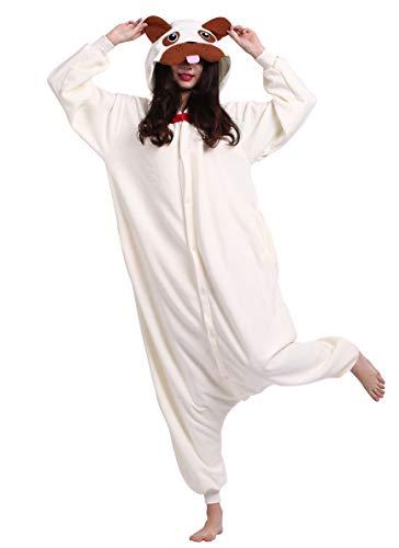 Jumpsuit Onesie Tier Karton Kigurumi Fasching Halloween Kostüm Lounge Sleepsuit Cosplay Overall Pyjama Schlafanzug Erwachsene Unisex Pugs for Höhe 140-187CM