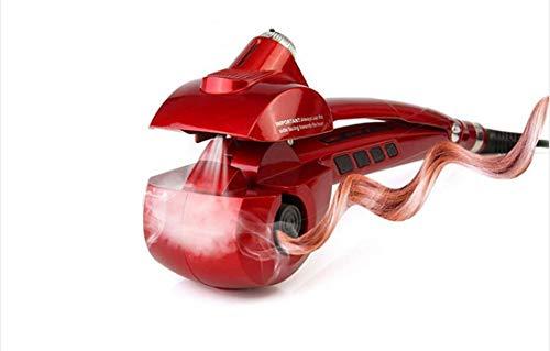 Lockenwickler Lockenwickler Keramik automatische Lockenstab Maschine, LCD Curling Curler Lockenstab Keramik Roller Wellenmaschine Styler, für lange Haare-mit einem Europa-Adapter (rot) -
