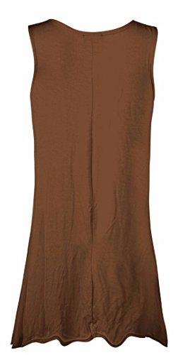 Fast Fashion - Robe Plus La Taille Sans Manches En Viscose Plaine D'oscillation De Maillot - Femmes Moka 1