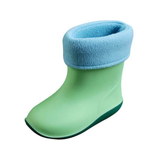Kolylong Child Waterproof Warm Rain Shoes, Child Soild Rubber Infant Baby Rain Boots Kids Rain Shoes for 2-6 Years Old