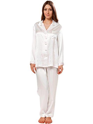 ELLESILK 100% Soie naturelle Pyjama Pour Femmes, Vêtement de Nuit, hypoallergénique, Blanc, L