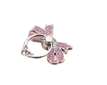 TBOP PHONE RING BUCKLE THE BEST OF PLANET SIMPLE & STYLISH Metal cartoon bow pink ring bracket bracelet buckle lazy folding mobile phone ring buckle diamond in silver color