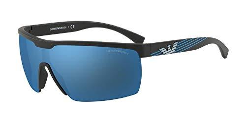 Emporio Armani Sonnenbrillen (EA-4116 504255) matt schwarz - gestreift blau - grau mit blau verspiegelt effekt