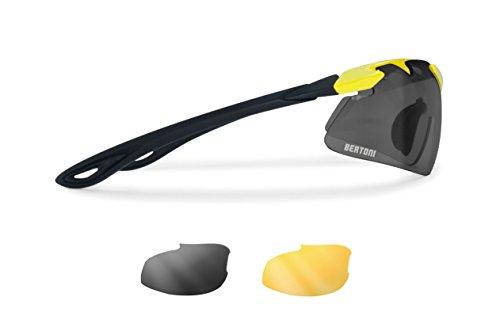 Occhiali sportivi antivento avvolgenti per ciclismo mtb running sci con lenti intercambiabili antifog - naso regolabile by bertoni af900y