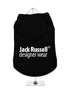 "''Jack Russell© Designer Wear'' UrbanPup Hoodie Dog Tank / Hoodie (Black / White) (X-Small - Body Length: 8"" / 20cm) by UrbanPup"