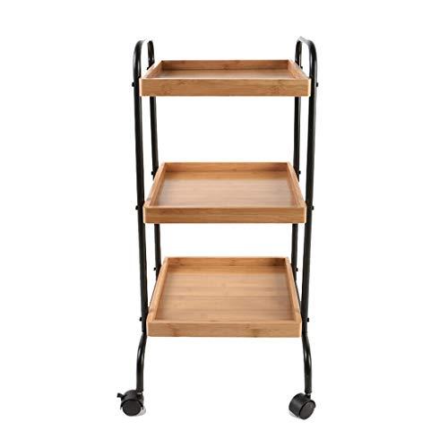 Shelf Kitchen Hotel Movable 3 Tier Bamboo Metal Utility Utility/Bar Cart,...