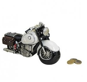 Spardose - Motorrad - Chopper - Sparbüchse in Schwarz und Weiß (Weiß)