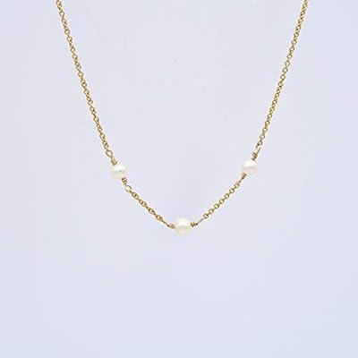 Collier Perles Blanches en Plaqué Or Jaune | Délicates perles de culture (0,5 mm) par 3 | Collier Ras de cou : 45 CM | Collier de Perles Blanches | Collier Femmes