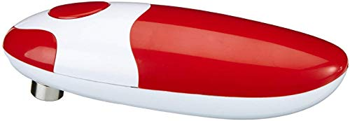 GOURMETmaxx Dosenöffner elektrisch Touch and Go, Elektrischer Dosenöffner zur Automatischen Dosenöffnung ohne Verletzungsgefahr, mit One Touch Schalter [Metall/Kunststoff, rot]