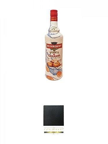 Rushkinoff Vodka & Caramel 1,0 Liter + Schiefer Glasuntersetzer eckig ca. 9,5 cm Durchmesser