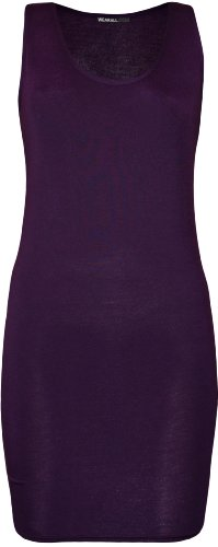 WearAll - Damen Racerback Einfarbig Ärmellos Figurbetontes Mini-Kleid Vest Top - Violett - 40-42 (Langes Kleid Stretch)