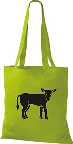 Shirtstown Stoffbeutel Tiere Kuh, Bulle Lime
