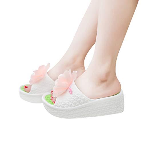 Mode Casual Respirant Jardin D'Été Plage Piscine Pantoufles Femme 34 Compensees Boho Été Tongs Chaussons Pantoufles à Talons Sandales Blanc