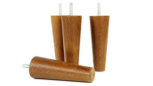Knightsbrandnu2u 4x Füße Ersatz Möbel Beine aus Holz 150mm Höhe für Sofas, Stühle, Hocker M8(8mm) cwc825 dunkle Eiche -