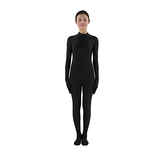 Erwachsene Full Lycra Spandex Body Unitard Zentai Anzug ohne Kapuze, schwarz