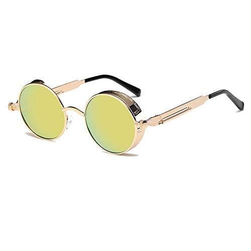 FUZHISI Sonnenbrillen Runde Metall Sonnenbrille Männer Frauen Brillengestell Sonnenbrille UV400, Grün