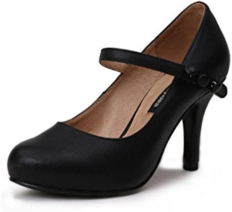 115fa33318f6b1 MUMA Escarpin Escarpin Escarpin Talons hauts noirs printemps rond chaussures  simples avec des chaussures de travail bouche peu profonde.