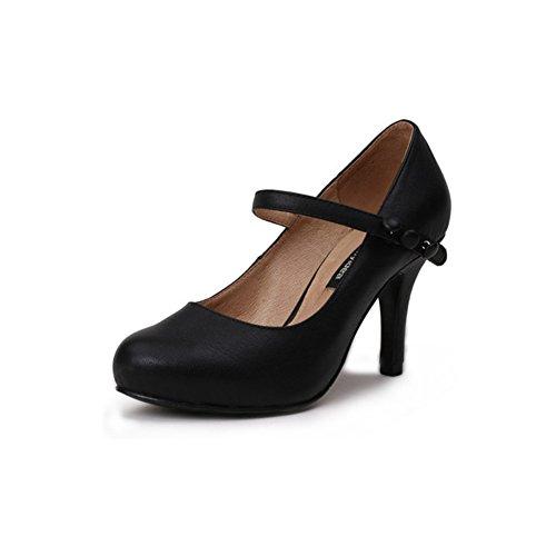 MUMA Pumps Schwarze High Heels Frühling Runde einzelne Schuhe gut mit Arbeit Schuhe flacher Mund mit einem Wort mit (größe : EU37/UK4.5-5/CN37)