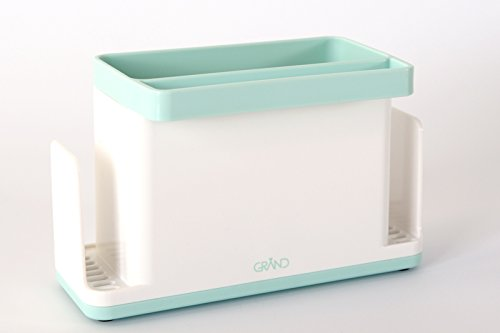 Sink Tidy Caddy Organiser for Kitchen Soap, Sponge, Cloth and Brush (White/ Light Green)