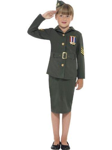 Girls WW2 Costume Army Girl World War 2 WW11 Soldier Fancy Dress Costume 4-12 yr MEDIUM 7-9 YEARS