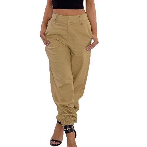TIFIY Hose Damen Frühling Sommer Leggings Lederhosen mit hoher Taille Wet Look Stretchhose Hose Stage Pants Club Party Skinny Shiny Hose (Khaki,XXL) Wet-look-capri-leggings