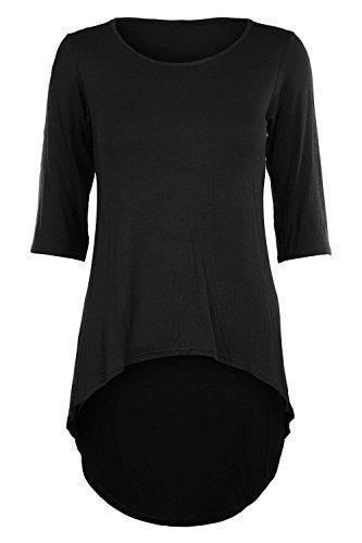 Damen 3/4-Ärmel, hohe Taille, enganliegend, Stretch, Eingetaucht Saum, Minikleid Top - Schwarz, M/L - DE 40/42