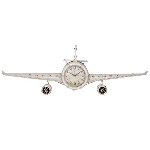 AiO-S - OK Wanduhr Flugzeug Vintage Uhr XXL Flieger Uhrwerk Design weiß 143 x 20 x 46 cm analog