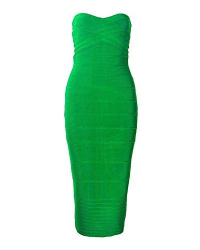 Whoinshop Damen Rayon Trägerloses Bodycon Kleider Stretch CocktailKleid Schulterfrei PartyKleider Bandage Kleid(S, grün) (Stretch-rayon Spandex)