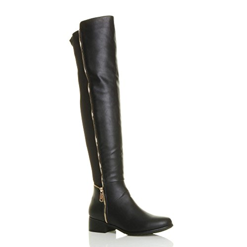 WOMENS LADIES HIGH OVER THE KNEE STRETCH PULL ON LOW HEEL BOOTS...