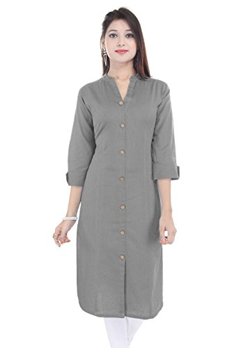 Saubhagyawati Fashions Wood Button Solid Grey Cotton Kurti