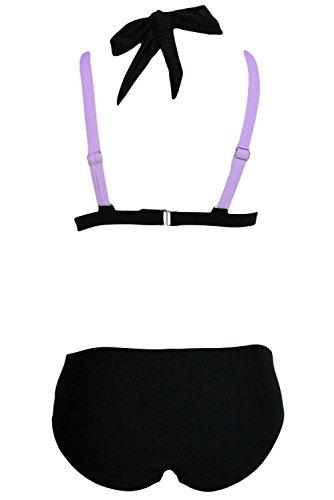 Pinkyee Damen Bikini-Set Schwarz / Lila