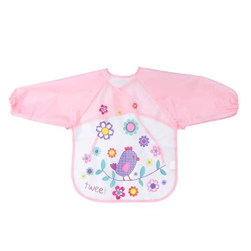 SUPVOX künstler praktische schürze eva vogel muster kinder wasserdichte kittel mit ärmeln rosa -