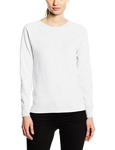 Fruit of the Loom Damen Sweatshirt Raglan Lightweight, Weiß (White), 36 (Hersteller Größe:Small) (Raglan Sweatshirt Loom)