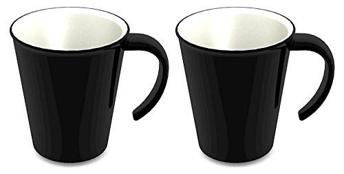 Ornamin Lot de 2 Tasses 300 ml Noir (Modèle 1201) / mug à café, mug à thé, gobelet plastique réutilisable