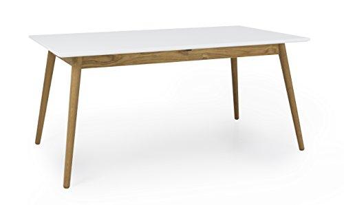 TENZO Dot Designer Table à Manger rectangulaire allonge, MDF/Chêne Massif, Blanc, 160 x 90 x 75 cm