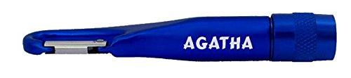 Personalisierte Taschenlampe mit Karabiner mit Aufschrift Agatha (Vorname/Zuname/Spitzname) (Agatha Lampe)