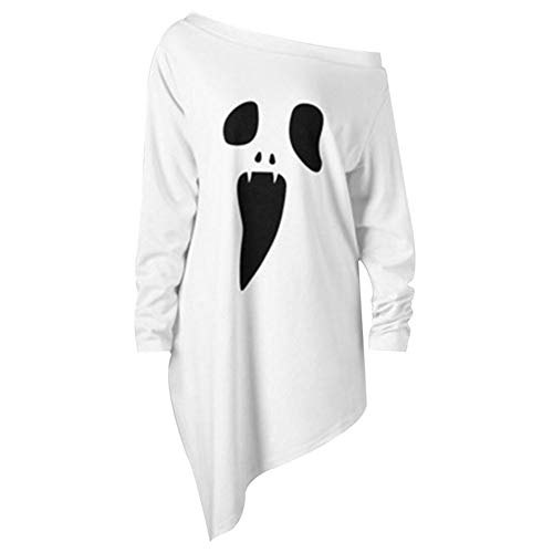 XIAOYUTOU Halloween Scary Ghost Face Trick Kostüm Erwachsene Frauen Terror Slope Top Loose Shirt Kleid Horror for Lady Girls Weiß Schwarz (Color : White, Size : - Scary White Lady Kostüm
