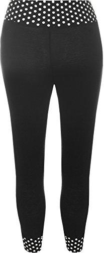 WearAll - 3/4 legging, variété, animal, à pois, rayé - Leggings - Femme - Grandes Tailles 40-54 Noir à pois